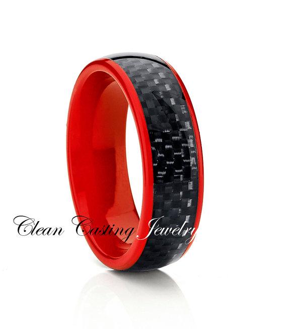 Titanium Wedding Band Red Titanium Titanium Wedding Ring Engagement Band Blac