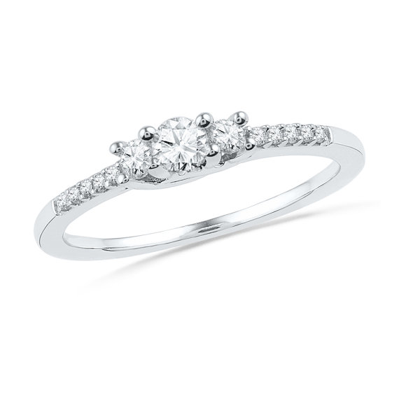 Hochzeit - Accented Diamond Engagement Ring, Three Stone Sterling Silver or White Gold Ring