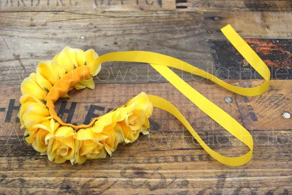 زفاف - Ready 2 Ship 12 yellow roses flower floral crown headband music festival rave wreath hair halo floral headband whimsical boho maternity sash