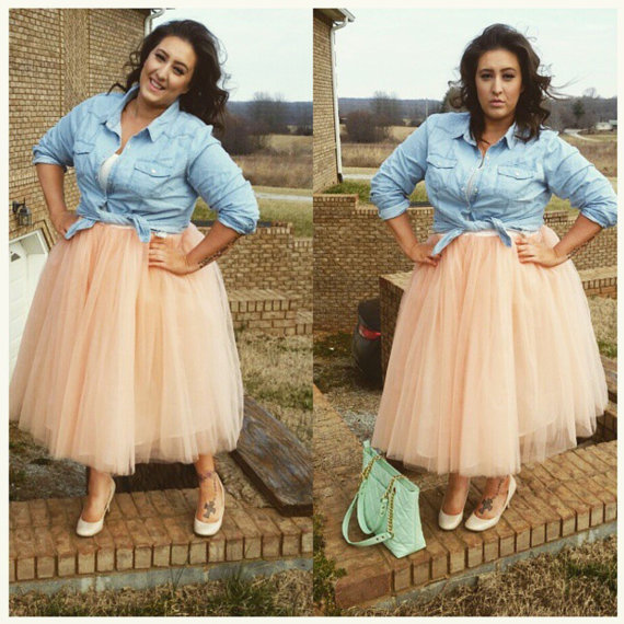 Mariage - PLUS SIZE Cassie Tulle Skirt, Midi Tulle Skirt, 7-Layers Puffy Tutu, Adult Tutu Skirt, Princess Layered Tulle Skirt, Length 23.5""