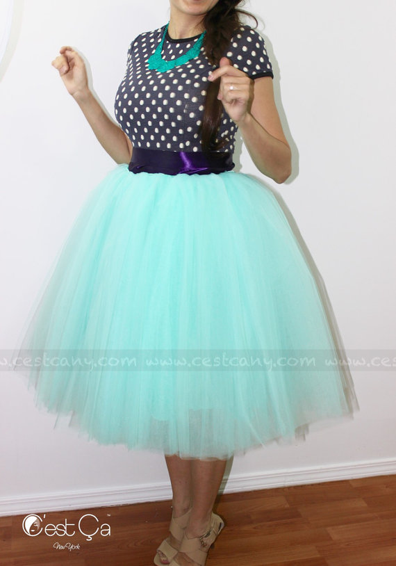 Ciara - Tulle Skirt In Mint Green, 6-Layers Puffy Tutu ...