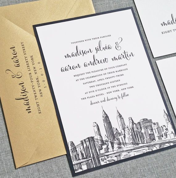 Madison New York Skyline Wedding Invitation Sample Boston