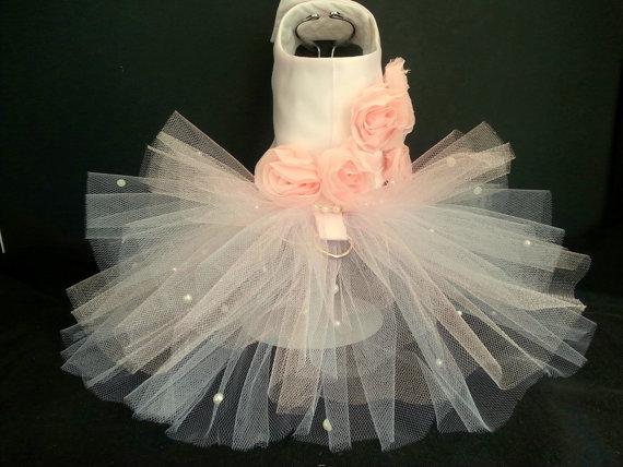 زفاف - Rose Couture Dog Harness Dress. XXSmall Dog Dress to XXLarge Dog Dresses, Designer Dog Dress, Girl Dog Clothes, Wedding Dog Dress, Cat Dress