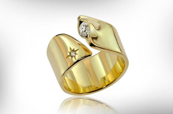 Wedding - 14K Gold Engagement Ring, Diamond Wedding Ring, Unique Handmade Jewelry FREE SHIPPING