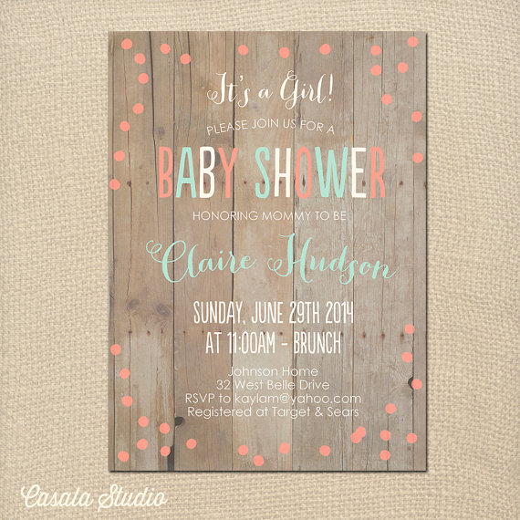Свадьба - Rustic Chic Baby Shower Bridal Shower Invitation Mint Peach Printable or Professionally Printed Cards 5x7
