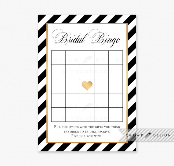black gold striped bridal shower bingo cards printed or printable white game gatsby heart brunch kate modern art deco brunch flapper 044