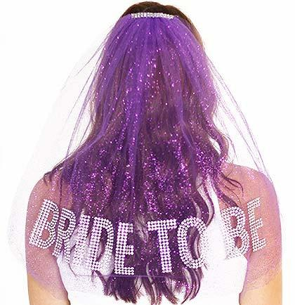 Mariage - Rhinestone Gem Bride To Be Sparkle Tulle Veil - Double Layer,  Bachelorette Party Veil, Purple Bachelorette Veil
