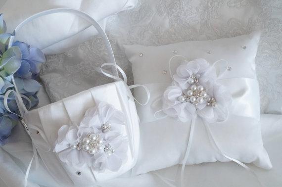 زفاف - Flower Girl Basket, Ring Bearer Pillow, Wedding Basket and Pillow Set - Style 320