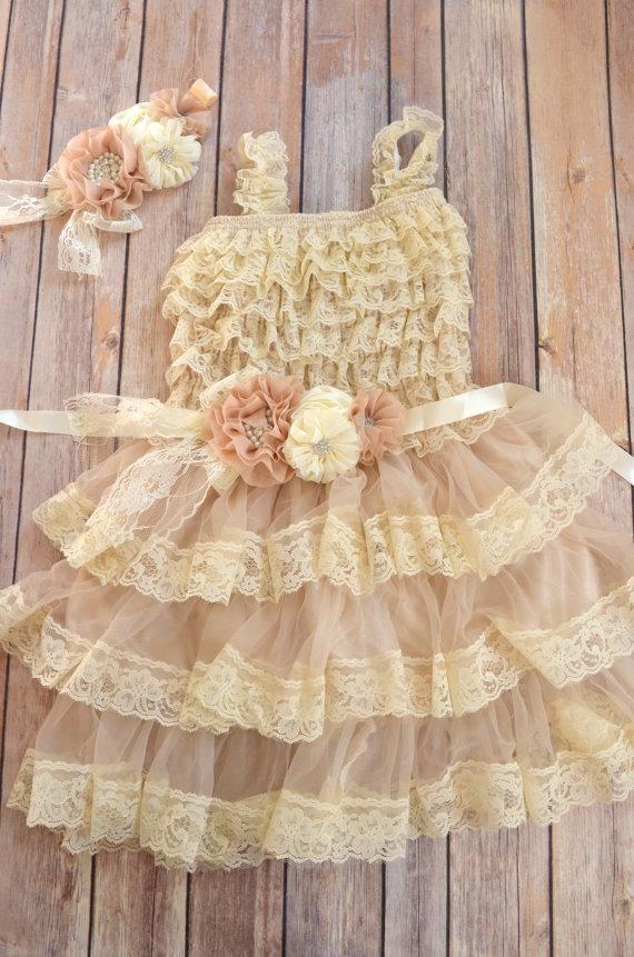 زفاف - Rustic Beige Ivory Lace Flower Girl Dress Headband set, Beige Lace dress, Wheat country Dress, Rustic Lace Dress,  Vintage Style Flower Girl