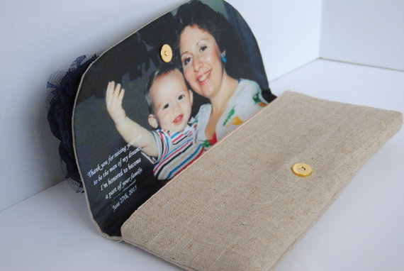 Свадьба - Photo Clutches, Gift for Mother, Mother of Bride Gift, Clutch with Photo, Wedding Clutch, Wedding Gift