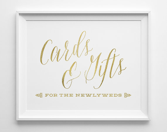 Wedding Signs Cards And Gifts Sign Gift Table Matte Gold White Reception Script Card Ws1g