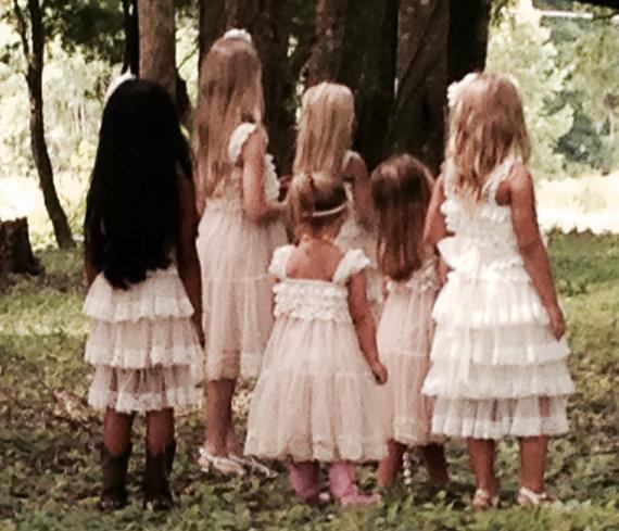Wedding - Lace Flower Girl dress- Flower Girl Dresses- Cream flower girl dress- Lace dress- Rustic Girls Dress- Baby Lace Dress- Junior Bridesmaid