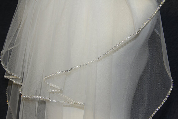 Hochzeit - 2T ivory white bridal veil handmade diamond wedding veil