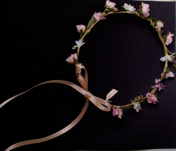 زفاف - Peachy pink hair wreath wedding accessories silk flower crown Blush bridal photo prop halo faux circlet headwreath couronne fleurs garland