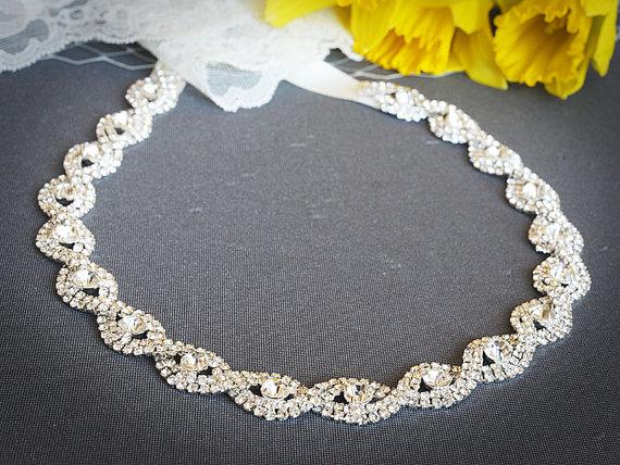 زفاف - ESME, Bridal Crystal Headband, Grecian Style Rhinestone Wedding Headband in White, Ivory or Silver, Oval Bridal Hair Piece, Hair Accessories