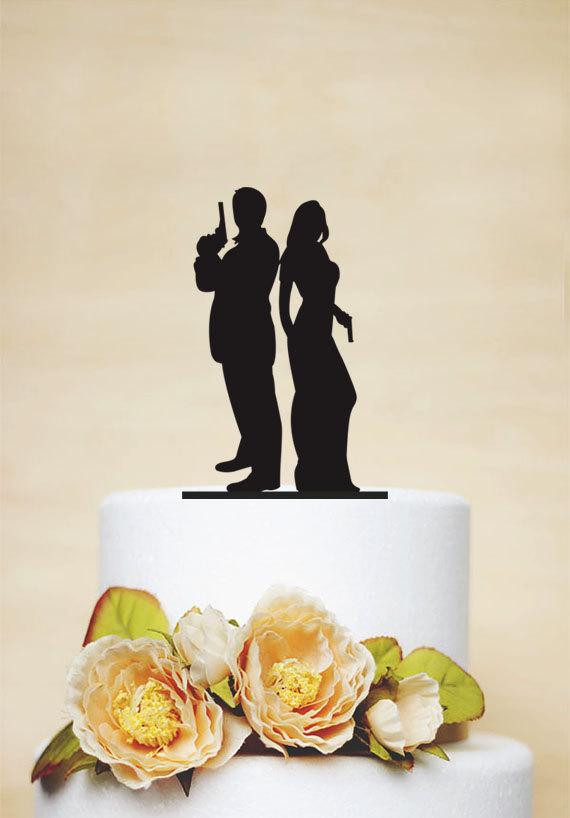زفاف - Wedding Cake Topper,Gun wedding, Armed Couple silhouette cake topper,Unique Cake Topper, Wedding Decoration,Personalized Cake Topper - P058