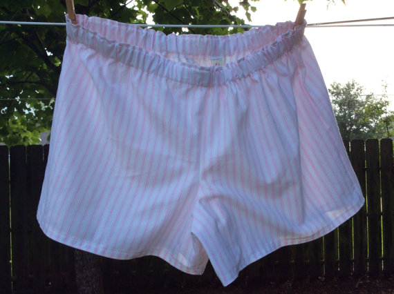 Hochzeit - Size Large pink and White Striped Womens Cotton Slumber Party, Lounge, Sleep, Play Shorts, Boxers.