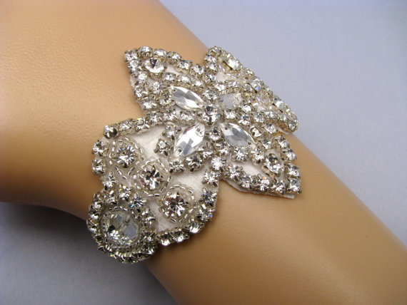 Wedding - Rhinestone Bridal Cuff, Crystal Wedding Bracelet, Silver Bride Jewelry, 35 Satin Color Choices, Jewellery