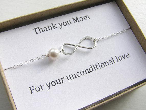 Свадьба - Mother of Bride or Groom Bracelet-Thank You Mom Infinity Bracelet in Sterling Silver-Wedding Special Gift-Jewelry Card Set-Eternity Bracelet