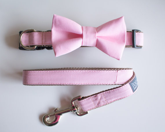 Свадьба - Pink Peony Blush Bow Tie For Dog With Optional Matching Leash