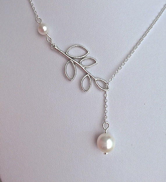 Wedding - Silver Branch Necklace with A Pearl Drop, Bridal Jewelry, Pearl necklace