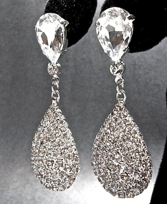 Wedding - Crystal rhinestone teardrop earrings - Luminous - Large - Teardrops - Wedding earrings ~ Statement earrings - Brides earrings -