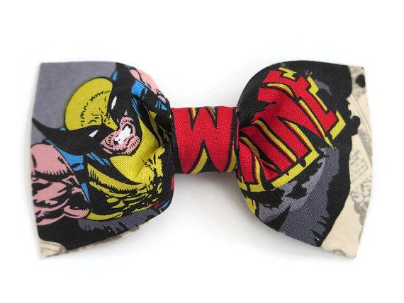 زفاف - Boys Superhero Bow Tie Made With Marvel Comics Wolverine Fabric, Boy Bow Tie on Alligator Clip, Superhero Birthday Outfit Bow Tie