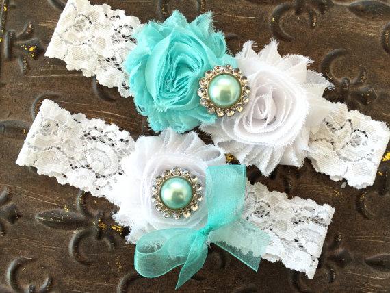 Свадьба - Pick Color, Aqua Blue Garter, White Garter Belt, Blue Garter, Wedding Garter, Blue Wedding Garter, Aqua Garter Set, Bridal Garter Set