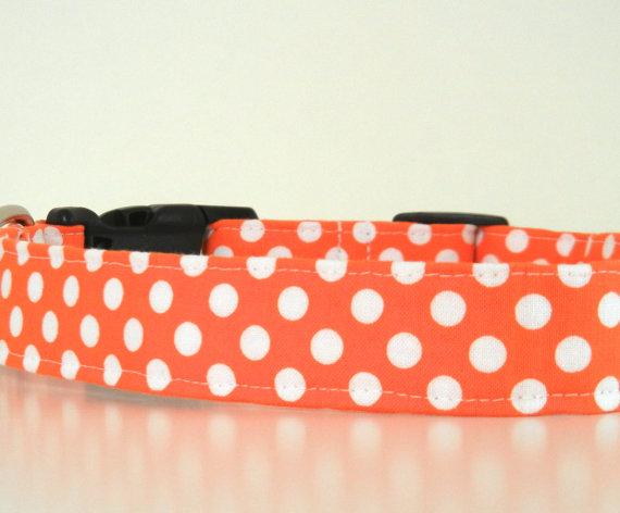 Свадьба - Halloween Dog Collar Orange Polka Dot Wedding Accessories Made to Order