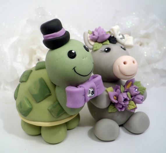 Turtle And Donkey Wedding Cake Topper - Custom Nicknames Cake Topper ...