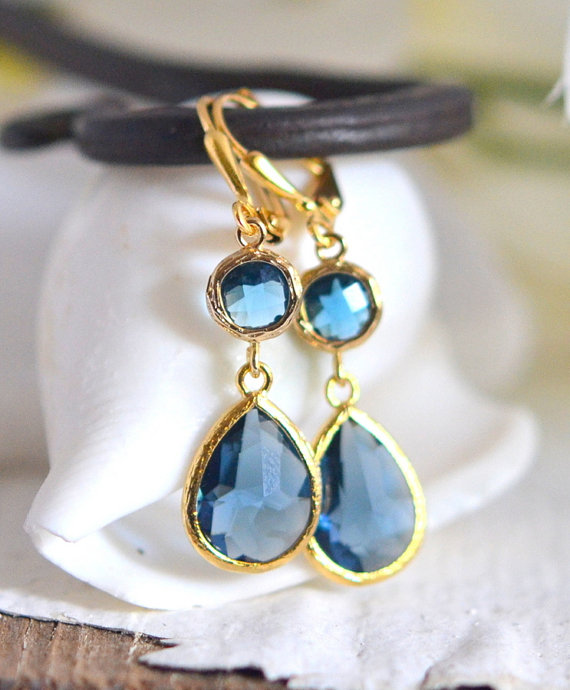 Sapphire Blue Glass Teardrop Dangle Earrings In Gold Fashion Gold