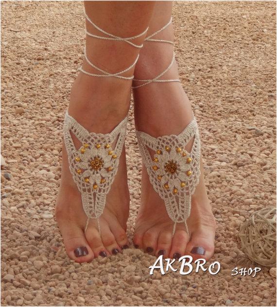 Свадьба - Beach Barefoot Sandals,Ivory Golden Barefoot sandles,Beach Pool,Nude shoes,Foot jewelry, Beaded sandals,Bridal,Beach wedding