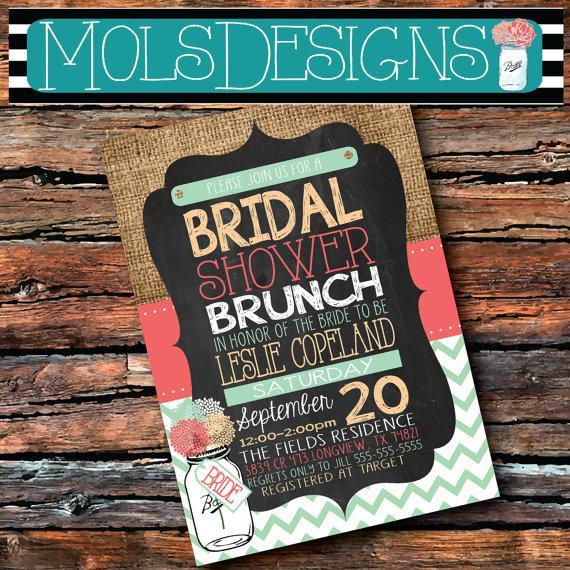 Mariage - Any Color BRIDAL SHOWER BRUNCH Mason Jar Baby Burlap Chalkboard Twins Girl Boy Coral Mint Peach Teal Floral Wedding Tea Party Invitation