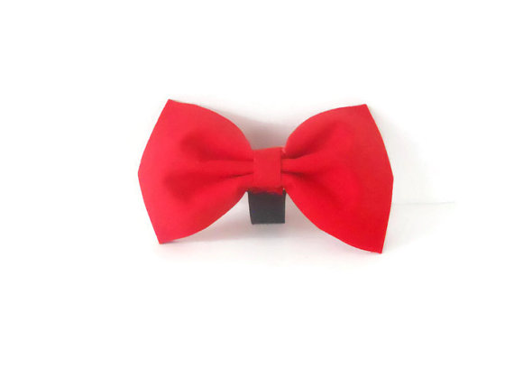 Свадьба - Red dog bow tie, red bow tie, christmas red bow, red wedding bow