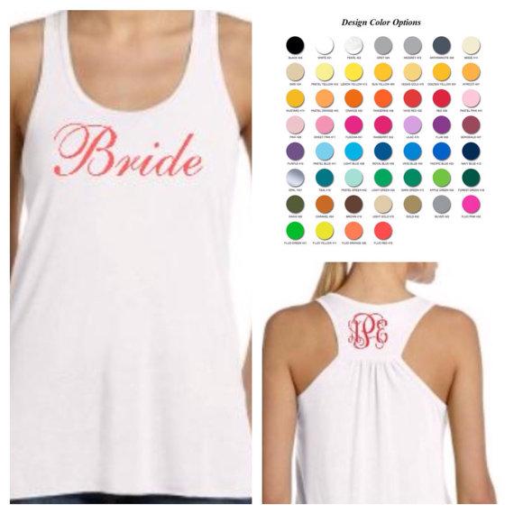 Wedding - Set of 6 Bride & Bridesmaids Tank Tops - Wedding Day - Bachelorette Party - Bridal Party Shirts