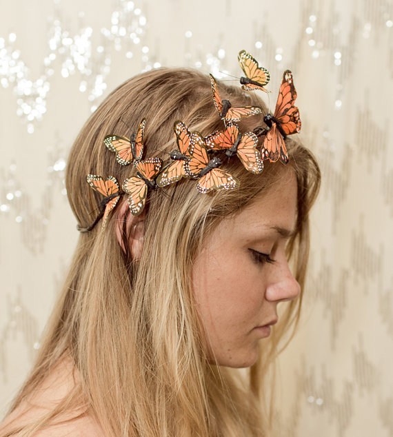 زفاف - Orange Monarch Butterfly Crown - princess, fairy,forest,renaissance