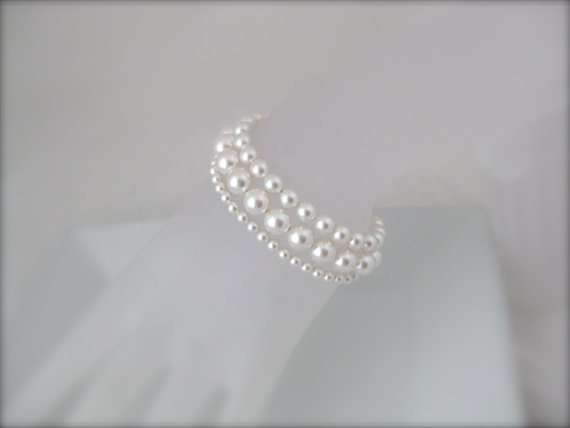 Wedding - Wedding Jewelry Bridal Bracelet White Pearl Bracelet Bridal Jewelry pearl