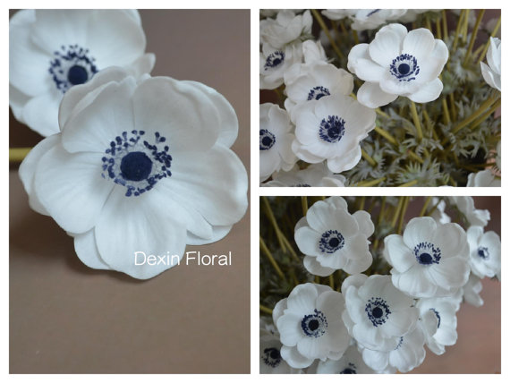 Natural real touch not silk white anemones deep blue center single natural real touch not silk white anemones deep blue center single stem for wedding bridal bouquets centerpieces decorative flowers mightylinksfo