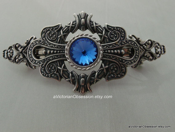 زفاف - Wedding  hair barrette Vintage Victorian style Rhinestone, crysta bluel silver bridal accessory