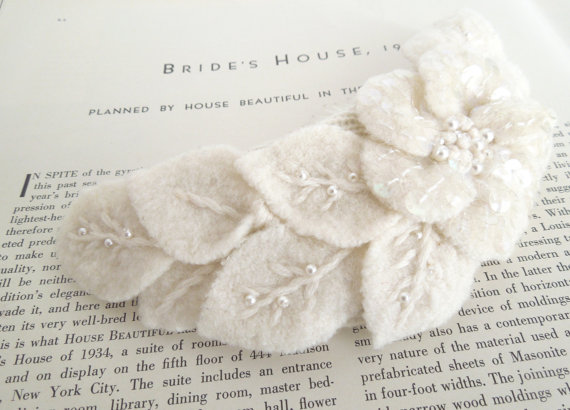 Wedding - Upcycled Felted Flower Haircomb