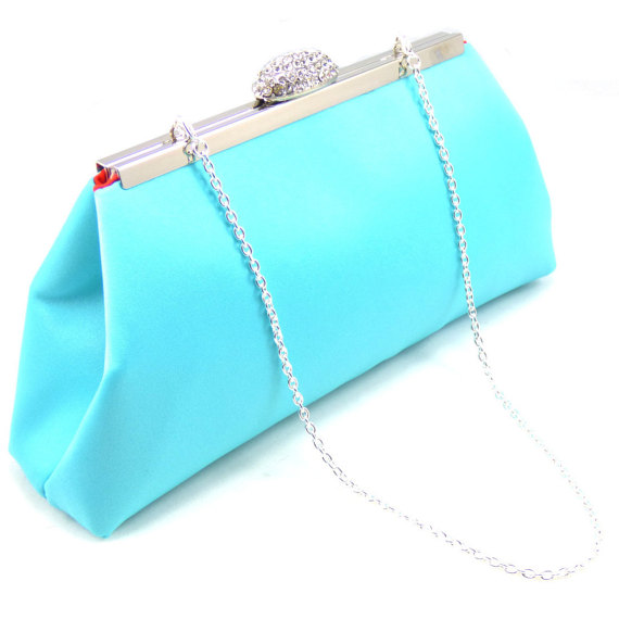 bridesmaid gift clutch aqua blue and bright red bridal clutch wedding clutch mother of the bride gift bridal shower gift gift ideas