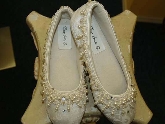 Wedding - Wedding Ivory Flat Shoes Dangling pearls, and crystals adorn these beautiful shoes.