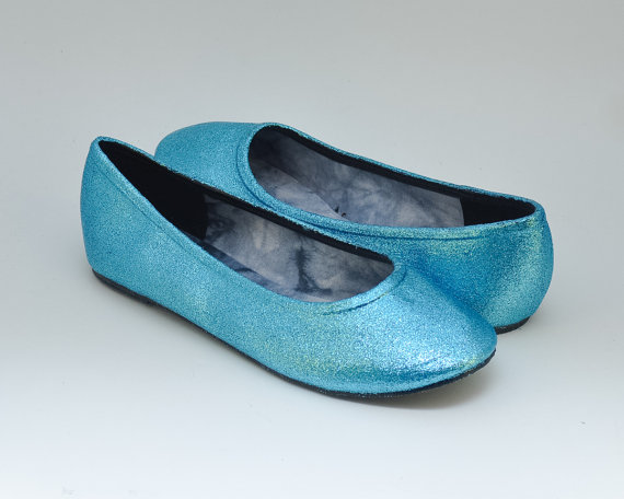 e702a824c Ready 2 Ship Size 7 Glitter Custom Sky Turquoise Blue Ballet Flats Slippers  Shoes