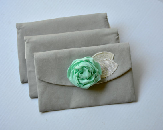 Wedding Clutches Set Of 5 Grey And Mint Wedding Purses Bridesmaid Gifts Bridesmaid Clutches Mint ...