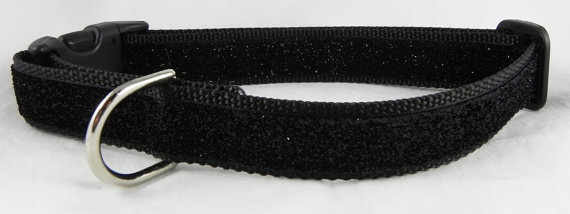 Свадьба - Black Metallic Sparkle Dog Collar