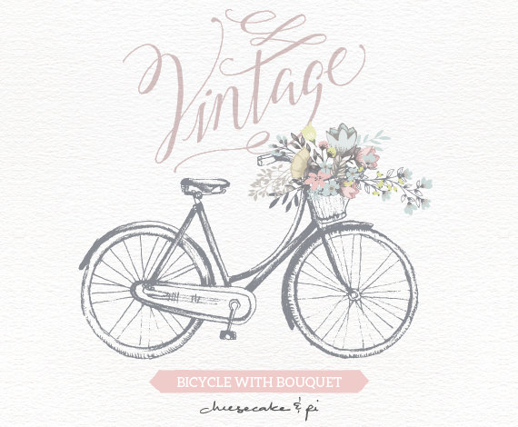 Wedding - Vintage bicycle with floral bouquet clipart / Wedding invitation clip art graphics / commercial use / rustic / CM0062a