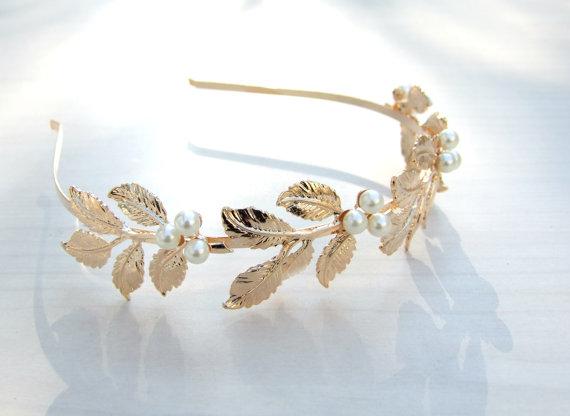 Wedding - Pearl Bridal Headband, Greece Goddess, Wedding Crown, Golden Headband, Bridal Headpiece,Vintage Headpiece