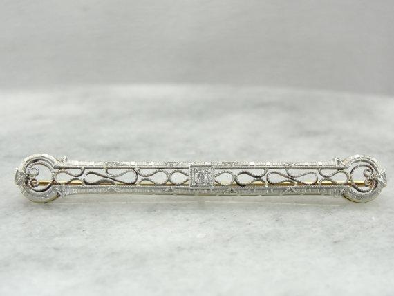 Mariage - Platinum and Diamond, Outstanding Filigree Art Deco Bar Pin Brooch 6PRJ45-N