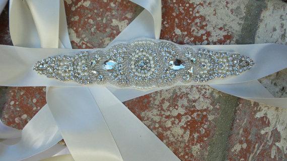 Wedding - Pearl and Rhinestone Bridal Belt, Bridal Belt, Bridal Sash, Wedding Belt