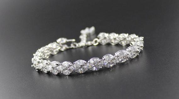 Mariage - Crystal Bridal Bracelet, Crystal Bracelet, Wedding Tennis Bracelet, Crystal Bridal Jewelry, Wedding Jewelry, FELICITY